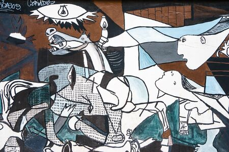 MALAGA,SPAIN - 28 MAY 2016: Guernica graffiti in close-up. UPHO Festival. Éditoriale