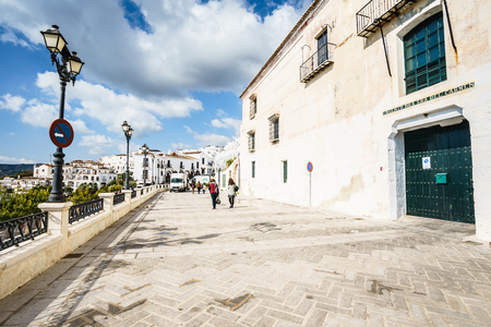 FRIGILIANA, SPAIN - JANUARY 30: picturesque street of Frigiliana on January 30, 2016 Frigiliana, Spain. It is one of beautiful white towns in Axarquia Area, Andalusia.