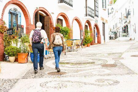frigiliana: FRIGILIANA, SPAIN - JANUARY 30: picturesque street of Frigiliana on January 30, 2016 Frigiliana, Spain. It is one of beautiful white towns in Axarquia Area, Andalusia.
