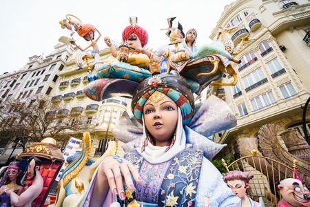 VALENCIA,SPAIN - MARCH 18: Las Fallas,papermache models are constructed then burnt in the traditional celebration in praise of St Joseph on March 18,2016 in Valencia,Spain. Editorial