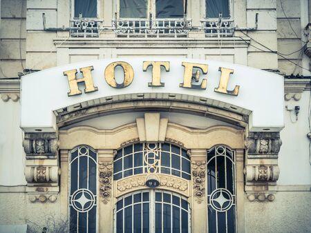 region of algarve: VILA REAL DE SANTO ANTONIO, PORTUGAL - MAY 29: old hotel on May 29, 2015 in Vila Real de Santo Antonio, Portugal. It is a town in the southern region of Algarve, in Portugal.