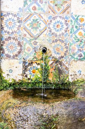 pena: fountain in Palace da Pena. Sintra, Lisbon. Portugal. Editorial