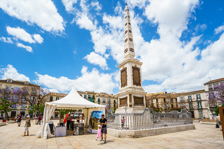 merced: MALAGA,SPAIN - 28 MAY 2016:Famous Merced square under blue sky Editorial