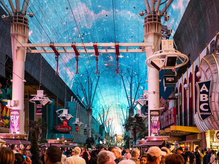 LAS VEGAS, USA - SEPTEMBER 09: Fremont Street on September 09, 2015 in Las Vegas, United States. It is an internationally renowned major resort city known primarily for gambling, shopping, fine dining and nightlife.
