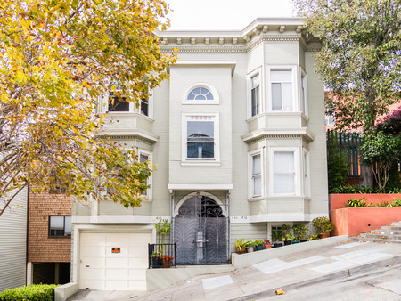 telegraph hill: SAN FRANCISCO, USA - SEPTEMBER 15: Filbert Street on September 15, 2015 in San Francisco, California, United States. San Francisco was founded on June 29, 1776.