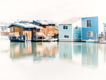 residential area: SAUSALITO, USA - SEPTEMBER 16: boats on September 16, 2015 in California, United States. This community is situated near the northern end of the Golden Gate Bridge.