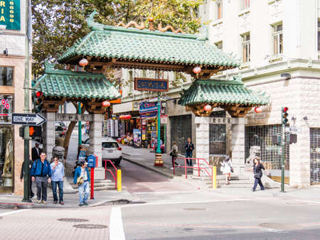 frisco: SAN FRANCISCO, USA - SEPTEMBER 15: Chinatown street on September 15, 2015 in San Francisco, California, United States. San Francisco was founded on June 29, 1776.