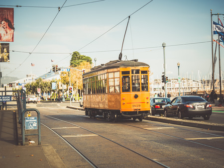 SAN FRANCISCO, USA - SEPTEMBER 15: typical tram on September 15, 2015 in San Francisco, California, United States. San Francisco was founded on June 29, 1776. Editorial