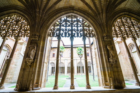 LA RIOJA,SPAIN - 29 AUGUST,2016:View of gothic hall of Santa Maria cloister with beautiful archs