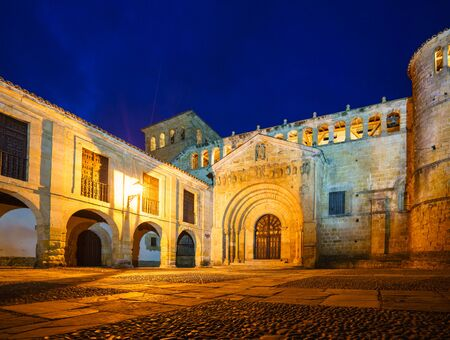 SANTILLANA DEL MAR,CANTABRIA,SPAIN - 31 AUGUST,2016:Night view of ancient building