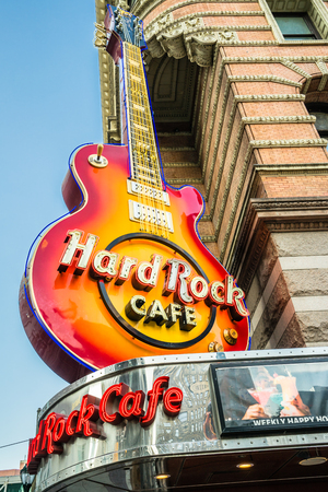 16: Philadelphia, Pennsylvania, USA - 16 October, 2016: Big guitar signboard of hard Rock Cafe. Editorial