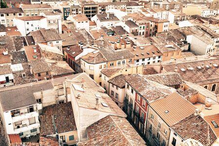 rioja: Santo Domingo de la Calzada, La Rioja, Spain - 09.12.2016: Aerial view of city in sunlight. Editorial