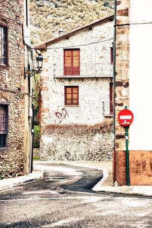 rioja: Ezcaray, La Rioja, Spain - 13.11.2016: Empty street in small town. Vertical outdoor shot Editorial