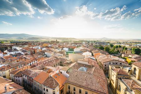 Santo Domingo de la Calzada, La Rioja, Spain - 09.12.2016: Aerial view of city in sunlight. Editorial