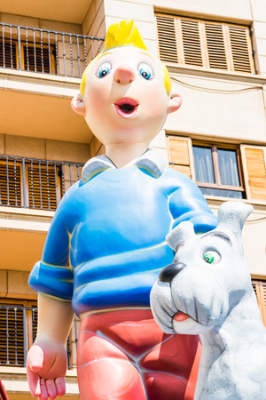 st  joseph: ALZIRA,SPAIN - MARCH 16: Las Fallas,papermache models are constructed then burnt in the traditional celebration in praise of St Joseph on March 16,2017 in Alzira,Valencia,Spain.