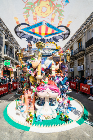 VALENCIA,SPAIN - MARCH 15: Las Fallas,papermache models are constructed then burnt in the traditional celebration in praise of St Joseph on March 15,2017 in Valencia,Spain.