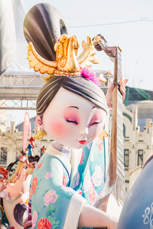 st  joseph: VALENCIA,SPAIN - MARCH 15: Las Fallas,papermache models are constructed then burnt in the traditional celebration in praise of St Joseph on March 15,2017 in Valencia,Spain.
