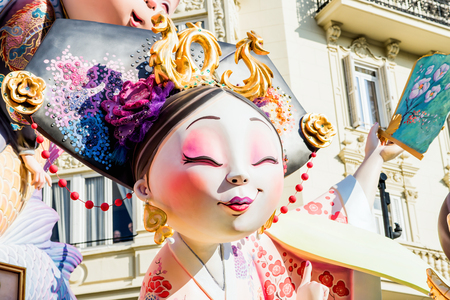 fallas: VALENCIA,SPAIN - MARCH 15: Las Fallas,papermache models are constructed then burnt in the traditional celebration in praise of St Joseph on March 15,2017 in Valencia,Spain.