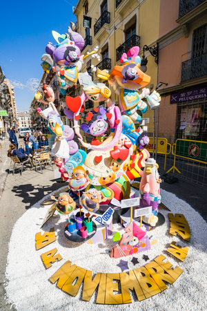 falla: VALENCIA,SPAIN - MARCH 15: Las Fallas,papermache models are constructed then burnt in the traditional celebration in praise of St Joseph on March 15,2017 in Valencia,Spain.