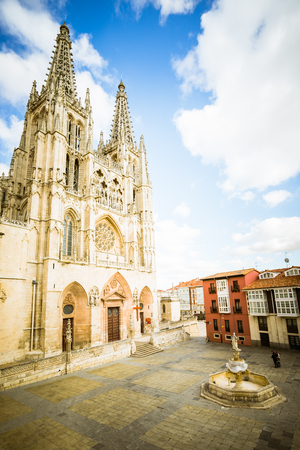 Burgos, Spain - 10.11.2016: Front view of gothic-style roman catholic cathedral. Its construction began in 1221.