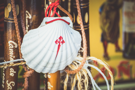 st jamess: Way of St. James  - 10.11.2016 Front view of Scallop shell symbol hanging on blurred background.