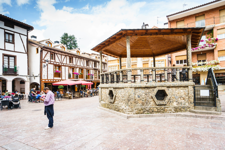 Ezcaray, La Rioja, Spain - 25.09.2016  Torremuzquiz Square. The town is situated at the base of the San Lorenzo peak and is 13 km from the Valdezcaray ski area. Editorial