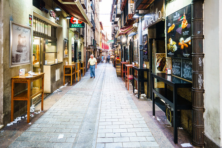 Laurel Street, Logrono, Spain - 11.09.2016. It  is one of the streets of the old town of Logrono (La Rioja, Spain), famous for being a typical tapas of the city.
