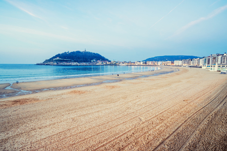 SAN SEBASTIAN, SPAIN - FEBRUARY 22, 2017: La Concha Beach. It is one of the most famous urban beaches across the country.