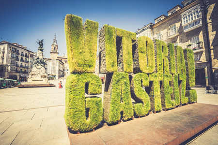 ALAVA,SPAIN - 24 AUGUST,2016: Vitoria Gasteiz green hedge on famous Alava square in Spain.