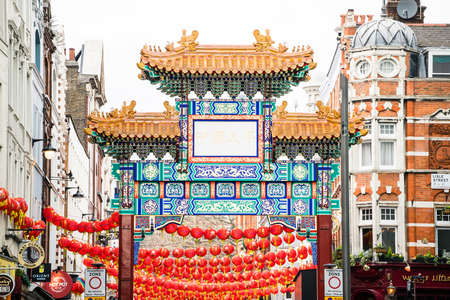 LONDON, UK - 20 FEBRUARY, 2017:  ChinaTown district. It was established in 1880 by chinese sailors and traders. Sajtókép