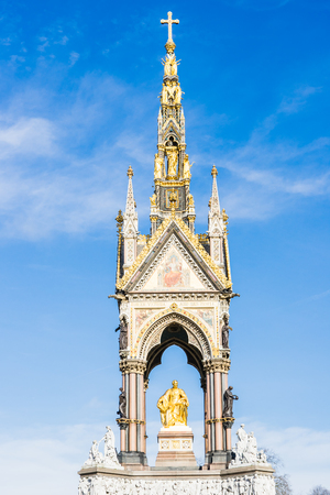 LONDON, UK - 20 FEBRUARY, 2017: The Albert Memorial is situated in Kensington Gardens. It was commissioned by Queen Victoria in memory of her beloved husband, Prince Albert.