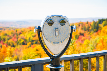 Metal binoscope directed to picturesque forest in Battleboro, Vermont, USA. Horizontal outdoors shot Фото со стока