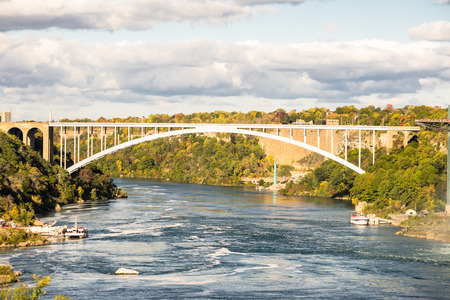 Bridge at Niagara Falls and river in Canada.