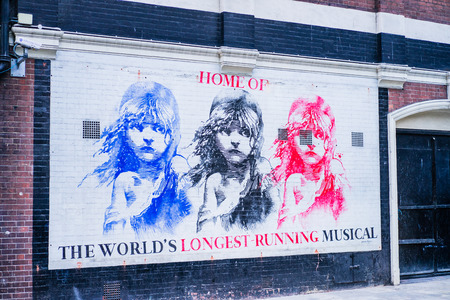 LONDON, UK - 19 FEBRUARY, 2017: Musical Les Miserables in Soho District