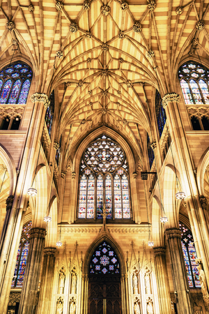 St. Patrick's Cathedral, New York, USA - 22 October, 2016:It  is a decorated Neo-Gothic-style Roman Catholic cathedral in 5th Avenue