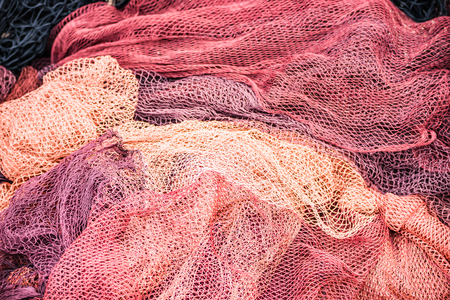 fishing nets in Basque Country, Spain Imagens