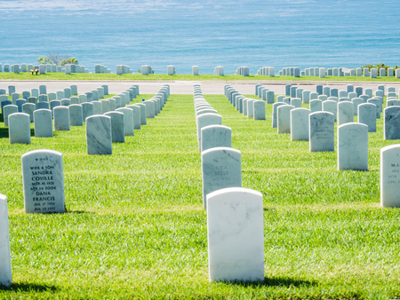 SAN DIEGO, USA - SEPTEMBER 19: Fort Rosecrans Cemetery on September 19, 2015 in California, United States. It is located at the southern tip of the Point Loma Peninsula. Editorial