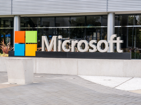 SILICON VALLEY, USA - SEPTEMBER 17: Microsoft building on September 17, 2015 in Silicon Valley, California, United States. It is home to many of the worlds largest high-tech corporations. Redakční