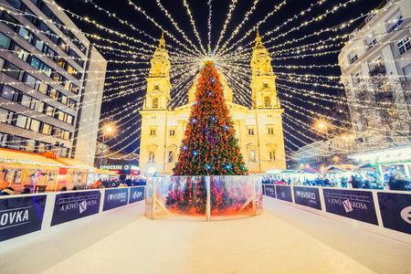 BUDAPEST, HUNGARY - DECEMBER 17, 2017: Christmas Fair on Szent Istvan square