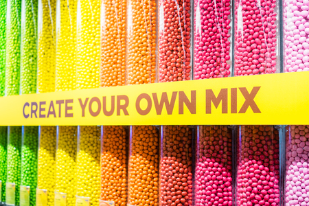 LONDON, UK - 17 FEBRUARY, 2017: M&M's World store.It is the world's largest candy store, at 3250 sq metres. Sajtókép