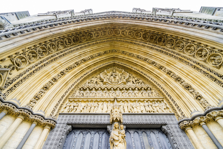 LONDON, UK - 18 FEBRUARY, 2017: Westminster Abbey, formally titled the Collegiate Church of St Peter at Westminster, is a large, mainly Gothic abbey church.