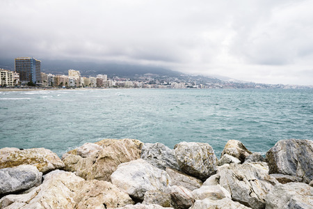 FUENGIROLA,SPAIN - 1 MAY 2016: Beautiful view on sea resort under overcast sky