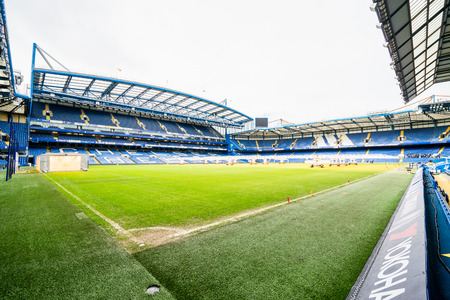 LONDON, UK - 16 FEBRUARY, 2017: Stamford Bridge Stadium.  The Stamford Bridge is home to Chelsea Football Club.