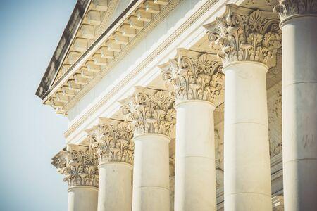 Memorial Amphitheater, Arlington National Cemetery in Washington DC, USA - 16 October, 2016: top columns of memorial.