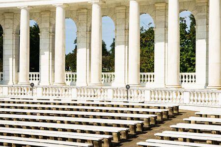 Memorial Amphitheater, Arlington National Cemetery in Washington DC, USA - 16 October, 2016: benches for visitors