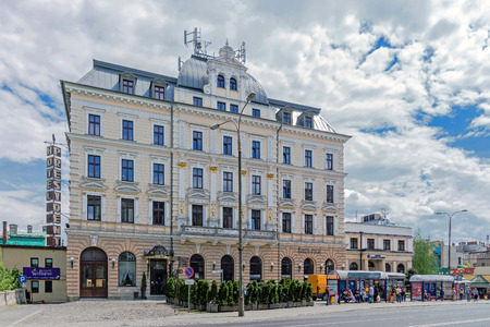 mansard: Bielsko-Biala, Poland - May 30, 2015: Hotel President built in 1893 in Neo-Renaissance architectural style. Originally named Kaiserhof Imperial Manor in honor of the Emperor Franz Joseph I.