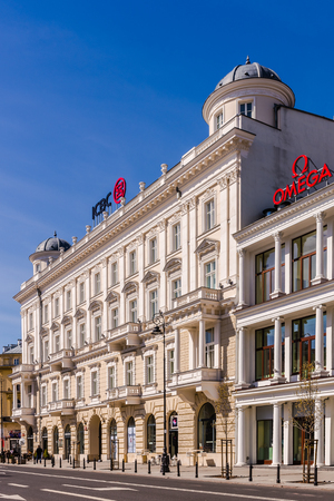 tenement: Warsaw, Poland - April 9, 2015: Griffin House on the Three Crosses Square in the heart of the city. Beautiful Neo-Renaissance tenement built in 1886, nowadays serves as a prestigious office building. Editorial
