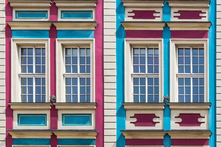 parapet: Facade of ancient tenement in the Old Town in Wroclaw, Poland. Editorial