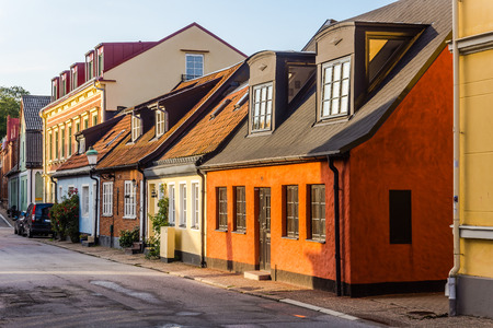 mansard: Charming small houses in Ystad, Scania region, Sweden.