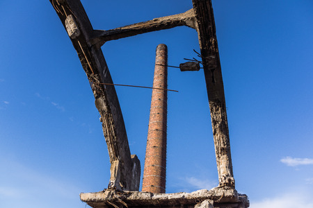 ironworks: Factory chimney in the area of the ruined Uthemann Ironworks in Katowice, Poland